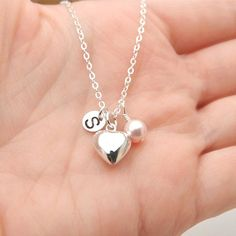 Sterling Silver Heart Necklace Personalized door BeautifulAsYou