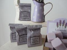 Lavender Shop paper Bags filles with fimo soaps