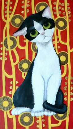 """""""Klimt's Cat"""" by Sara Field, Michigan // Inspired by Gig's big-eyed cats, Klimt's black & white kitty and Klimt's painting Hygeia. Acrylic on found wood with collaged chocolate candy wrappers.  (filed used: KatzePrint2) // Imagekind.com -- Buy stunning, museum-quality fine art prints, framed prints, and canvas prints directly from independent working artists and photographers."""