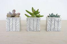 Mini Square Planter Set of Three with Herringbone Pattern - Made to Order