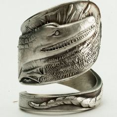 Unique Vintage Alligator Souvenir Sterling Silver Spoon Ring, Handcrafted in Your Size . $70.00, via Etsy.