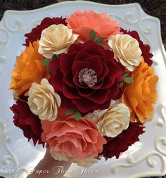 Flower Wedding Bouquet - Handmade Paper Flowers - Customize Your Colors - Made To Order