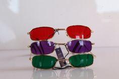 Vintage des années 80 cadre doré, rouge profond, vert profond, Deep Purple lentilles. 3 PAIRES. OPTICON. Petite taille. Fabriqué en Grèce