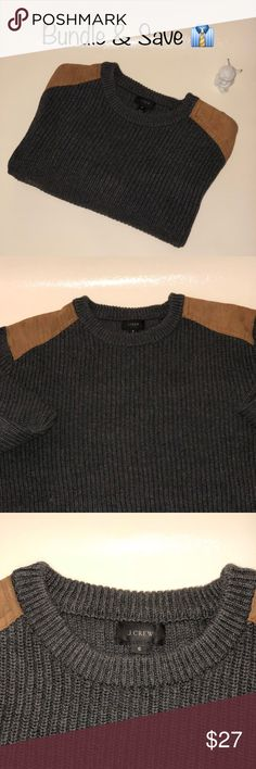 J. Crew sweater with leather shoulder patch J. Crew gray color with leather patches on the shoulders.  This awesome sweater is 100% Cotton and 100% leather shoulder patch. Bundle & Save all the pre-loved items are in Excellent condition and have been washed and pressed before shipping.  Smoke and pet free environment. ⛔️Trade. Same day shipping. J. Crew Sweaters