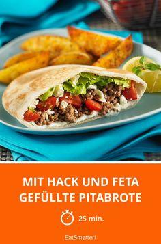 Mit Hack und Feta gefüllte Pitabrote - smarter - Zeit: 25 Min.   eatsmarter.de