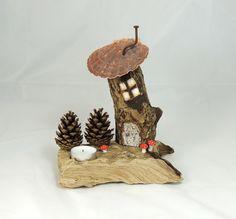 Driftwood Log Fairy House Candle Holder £25.00