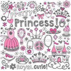 Ordinateur portable Sommaire princesse tiara doodles set vector — Image vectorielle #18485751