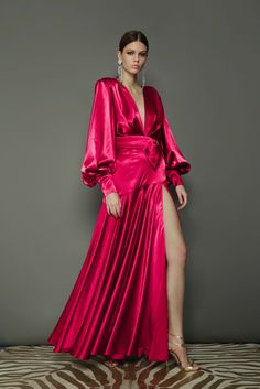 Fuschia Dress, Grey Midi Dress, Elegant Wedding Dress, Elegant Outfit, Pink Evening Gowns, Fringe Dress, Satin Dresses, Fashion Dresses, Fashion Clothes