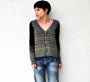 This retro inspired cardigan has an ample and boxy shape - which is updated by it's extra long sleeves and fun stripes in different sequences.