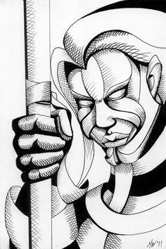 """Mark Webster Artist - Untitled Mask - 9x6"""" Ink on Bristol Board."""