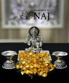 Wide range of silver idols in antiques.Available Only @ Naj Jewellery, Nellore. Silver Lamp, Silver Filigree, Antique Silver, Silver Home Accessories, Silver Pooja Items, Ganapati Decoration, Hindu Statues, Pooja Room Door Design, Gold Shower