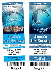 Dolphin Tale 2 Movie Birthday Party Ticket Invitations U Print