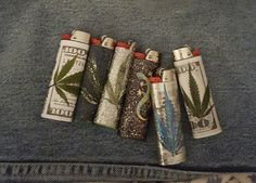 Bic lighters embellished by Amy Chartrand