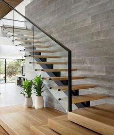 97 Most Popular Modern House Stairs Design Models 52 Glass Stairs Design, Staircase Design Modern, Home Stairs Design, Interior Stairs, House Design, Stair Design, Wood Railings For Stairs, Modern Stair Railing, Steel Stairs