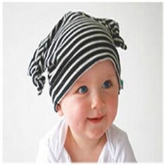 Baby Beanie - Beige and Brown Stripes