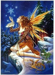 A beautiful Winter Fairy spreading glad tidings and creating a Winter Wonderland.  *Merry Christmas*