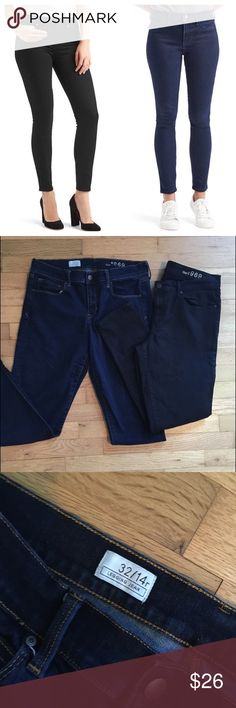 Gap legging jean bundle blue & black size 32 Gap legging jean bundle blue & black size 32 in good pre loved condition, some fading on the blue pair from original color from washing. Black is still very black. GAP Jeans