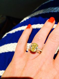 My favorite accessory :) Yellow diamond engagement ring. Designed and made in California by C. Yellow Diamond Engagement Ring, Yellow Diamond Rings, Dream Engagement Rings, Engagement Ring Cuts, Oval Diamond, Wedding Engagement, Canary Yellow Diamonds, Canary Diamond, Colored Diamonds