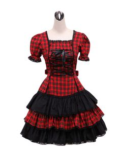 AvaLolita Red Check Lace up Tiered Classic Lolita Dress with Lace, S