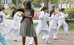 Michelle Obama learning tai chi in China.