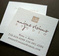 Unique Visions Studio Logo + Letterpress Business Card Design ~ love