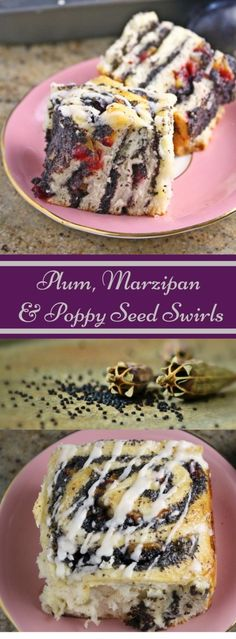 Plum, Marzipan and Poppy Seed Swirls with Rum Glaze  These Plum, Marzipan &…