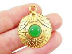 Round Dome Tribal Pendant with Green Glass Accent  by LylaSupplies, $4.50