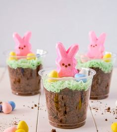 Dirt cake with Easter Bunny - cute and fun decoration.