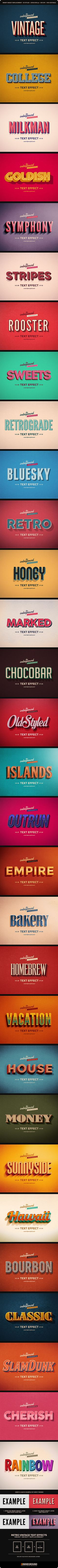 Retro Vintage Text Effects Bundle Vol. 1-3 - Text Effects Actions