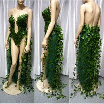 Poison Ivy Monokini Kleid mit Schleppe Kostüm Cosplay Dance Kostüm Rave Bra Rave Wear Halloween Burlesque Show Girl von L'Amour Le Allure Poison Ivy Cosplay, Posion Ivy Costume, Poison Ivy Kostüm, Poison Ivy Halloween Costume, Poison Ivy Makeup, Halloween Cosplay, 4 Person Halloween Costumes, Witch Cosplay, Eve Costume