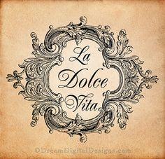 La Dolce Vita Digital Download for Image Transfers Fabrics Pillows Shabby Chic Burlap Altered Art Printable Image No. 224. $4.20, via Etsy.
