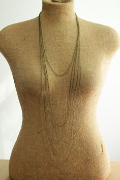 long minimal necklace with multi layered chains by acommonthread, $40.00