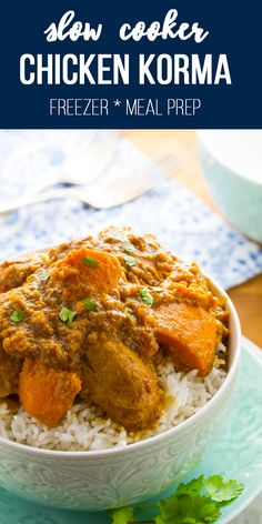 Slow cooker chicken korma with sweet potatoes and a creamy coriander sauce. A healthy Indian crockpot recipe that is incredibly easy to prep! Slow Cooker Chicken Korma, Slow Cooker Huhn, Best Slow Cooker, Slow Cooker Recipes, Crockpot Indian Recipes, Indian Food Recipes, Chicken Recipes, Meatless Recipes, Healthy Recipes