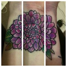 Dahlia tattoo on my wrist. Done by Junior at Club Tattoo in the Linq in Las Vegas Nevada. Call him, schedule an appointment, he's incredible!
