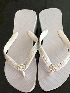 Flip Flops/Wedges for Bride /Bridesmaids. Beach Wedding