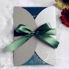 Emerald Green Vintage Gray Pocket Wedding Invitations WPF4015