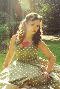 Jade Olive Green 1950's style dress by louiseomahony on Etsy, $111.00