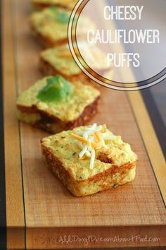 These fun cheesy cauliflower puffs make a great healthy side dish. I used cheddar but you can get creative and use any cheese you like!
