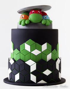 Teenage Mutant Ninja Turtles TMNT Cake with geometric pattern