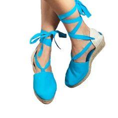 Espadrilles high wedge organic cotton, beach sandals lace up espadrilles, Spain sandals shoes high wedge handmade, boho shoes sandals