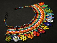 Beautiful Embera Huichol Fusion Necklace by BiuluArtisanBoutique Seed Bead Necklace, Boho Necklace, Fashion Necklace, Seed Beads, Crochet Necklace, Beaded Necklaces, Beaded Flowers Patterns, Native American Beading, Beaded Embroidery