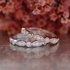 Matching Diamond Wedding Ring Half Eternity Band in 14k Gold Bezel Scalloped Diamond Wedding Band Anniversary Ring Promise Ring / http://www.himisspuff.com/wedding-bands-for-women/3/