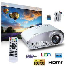 GIGXON H600 Multimedia 1200 Lumens Portable LCD LED Office and Home Theater Projector
