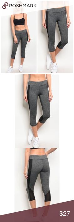 Gray Capri Yoga Workout Leggings 1-Small, 1-Medium, 1-Large. Charcoal Gray, fold down waist, Poly/Spandex/Nylon Blend. Couture Gypsy Pants Leggings
