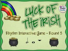 Do you need a St. Patricks-themed rhythm review activity dotted half note and whole note/rest patterns?  If so, this interactive PDF game is for you!  Your class can play in teams or you can use it as an individual assessment.  In full screen viewing mode, click on a charm OR throw a Koosh ball at the charm if you have an interactive board.