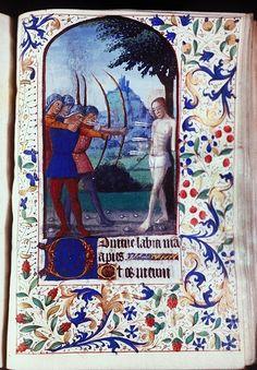MS 3: Book of Hours (France, post-1450; Latin), Syracuse University.  St Sebastian
