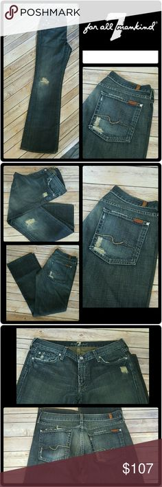"""7 For All Mankind Jeans Like new jeans! I don't think these jeans have been worn even once, but the tags have been removed. Excellent condition with no flaws. Rips and distressing are part of the design. Inseam approx. 30"""" (see pic) Questions and THOUGHTFUL offers are encouraged!!! 7 For All Mankind Jeans Boot Cut"""