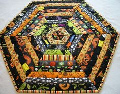 Halloween Hexagonal Table Topper Quilted by atthebrightspot, $62.00