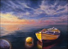 night paintings of boats on the water | compositional touches are seen throughout all of Cynthia's paintings ...