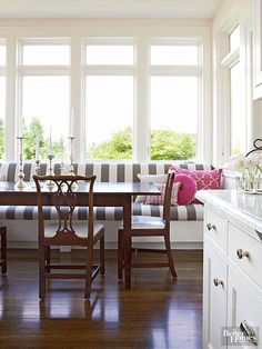 From streamlined upholstered benches and cushioned window seats to custom-fitted sofas, banquettes provide chic seats in all styles of kitchens, breakfast areas, and dining rooms.